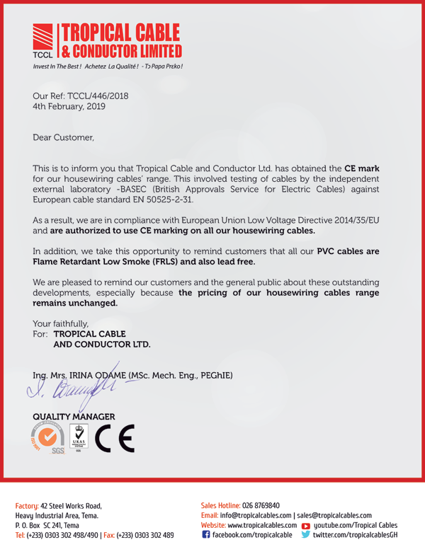 TCCL obtains CE mark for housewiring cable range